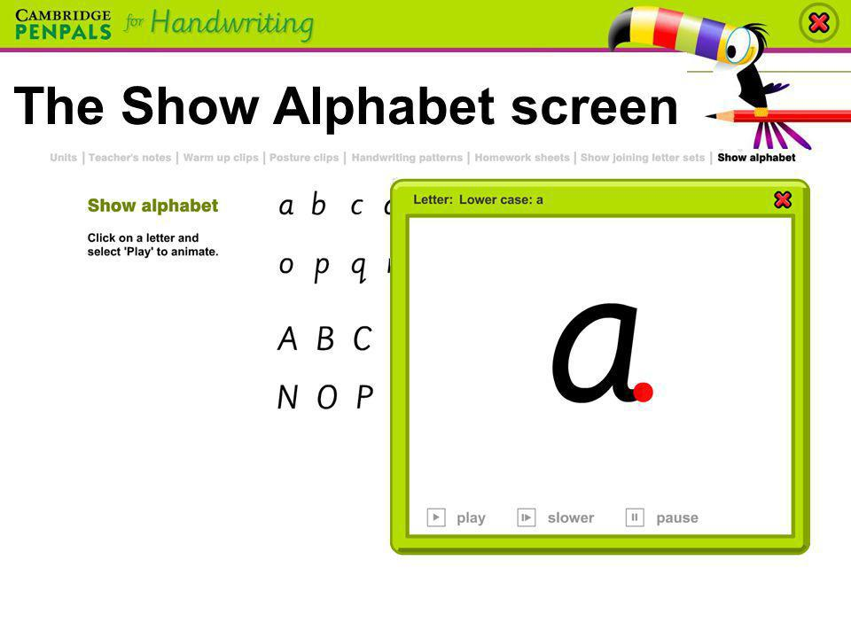 The Show Alphabet screen