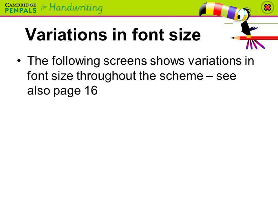 Variations in font size