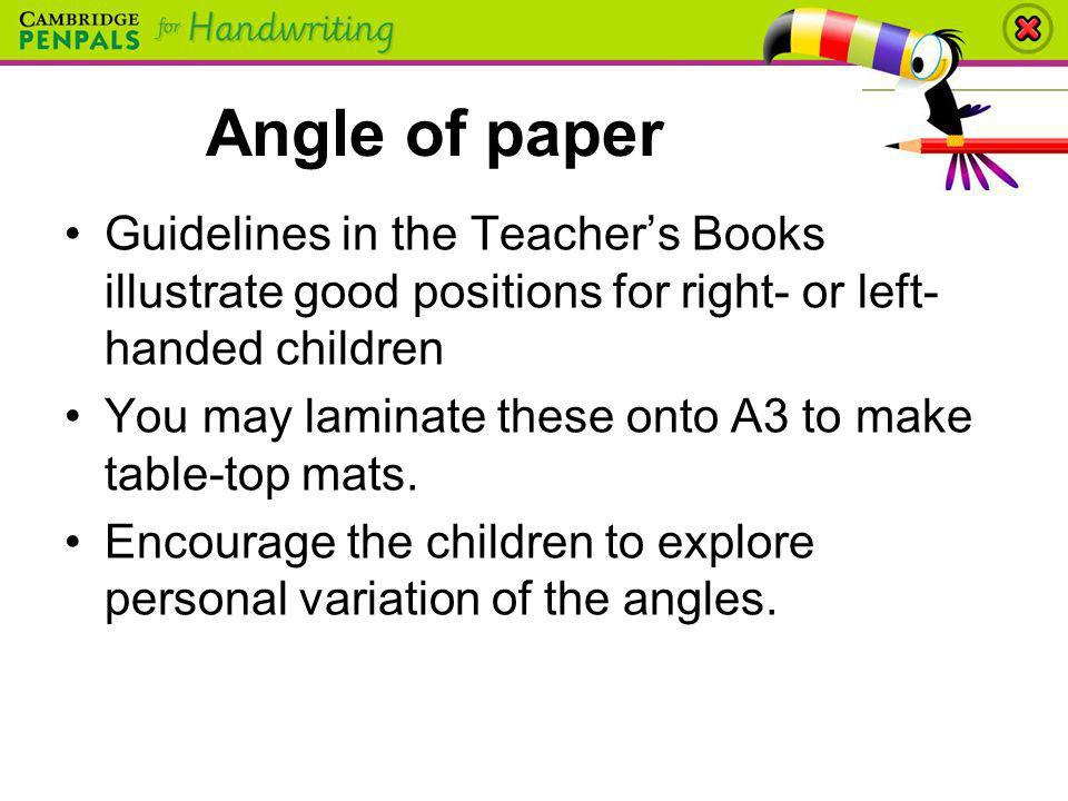 Angle of paper Guidelines in the Teacher's Books illustrate good positions for right- or left-handed children.