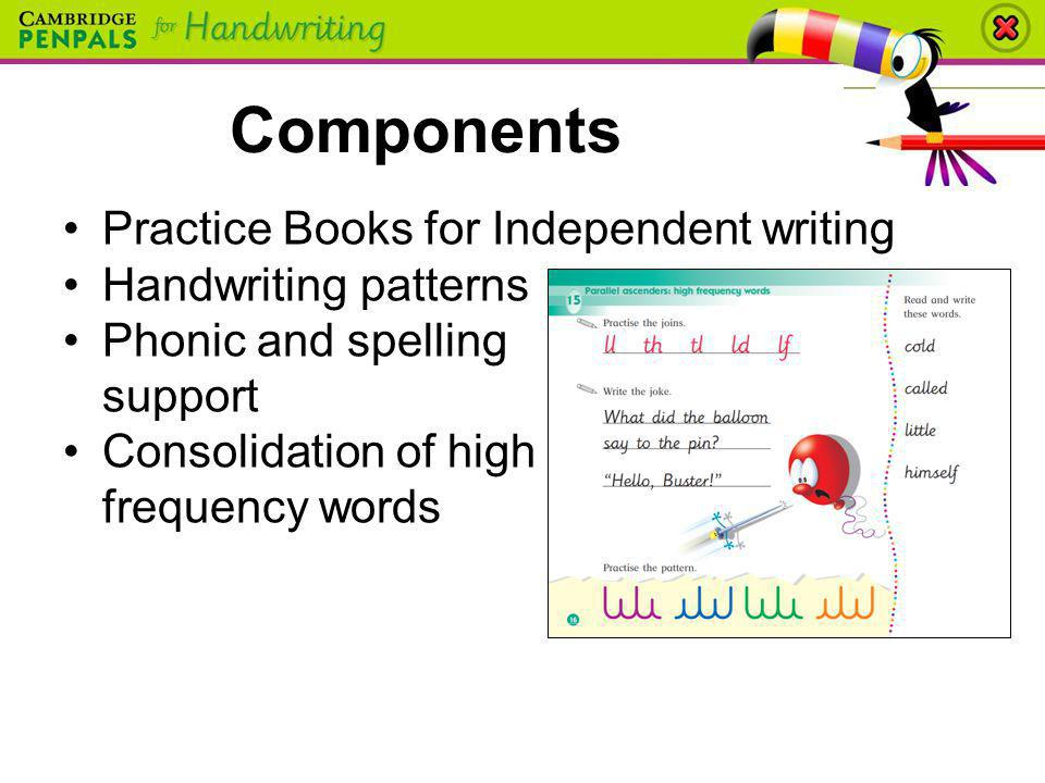 Components Practice Books for Independent writing Handwriting patterns