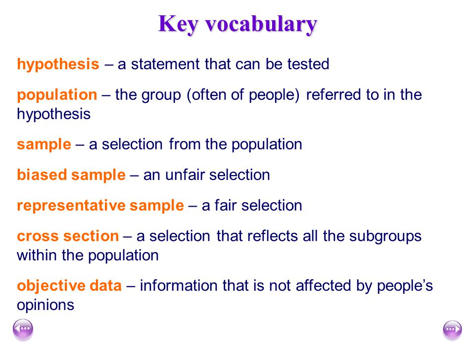Key vocabulary hypothesis – a statement that can be tested