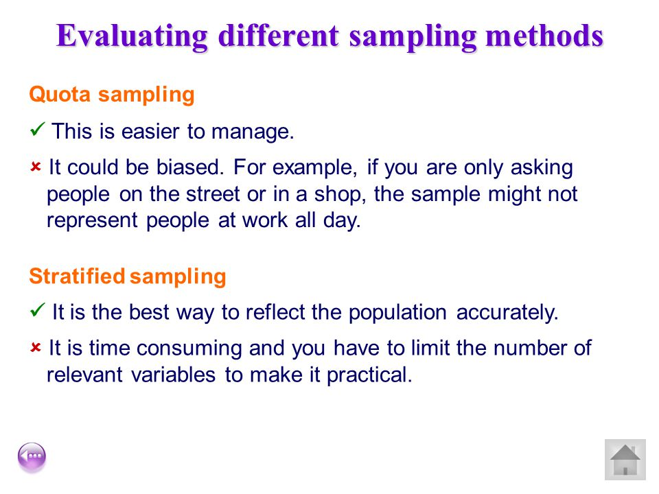Evaluating different sampling methods