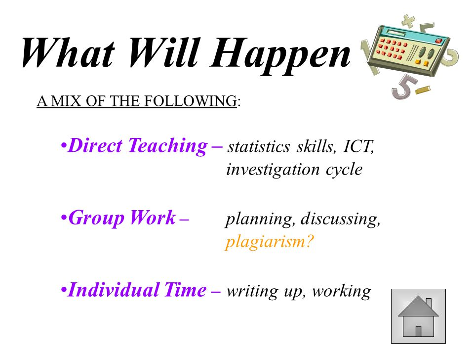 What Will Happen A MIX OF THE FOLLOWING: Direct Teaching – statistics skills, ICT, investigation cycle.