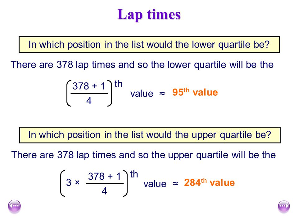 Lap times In which position in the list would the lower quartile be