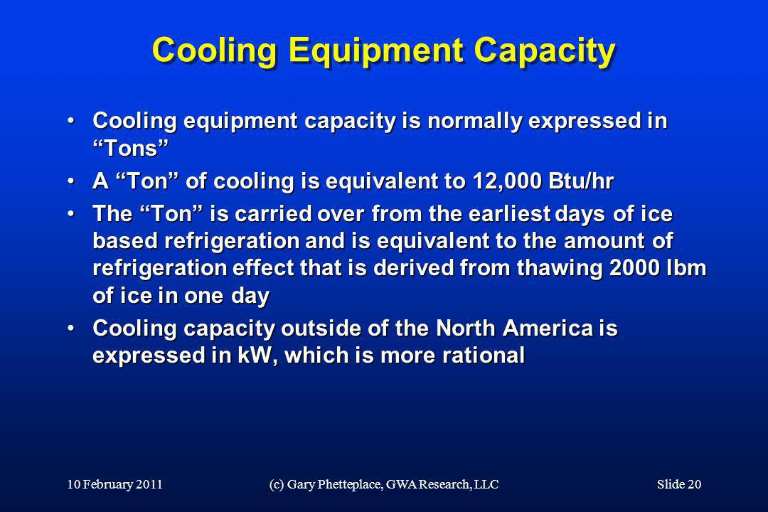 Cooling Equipment Capacity