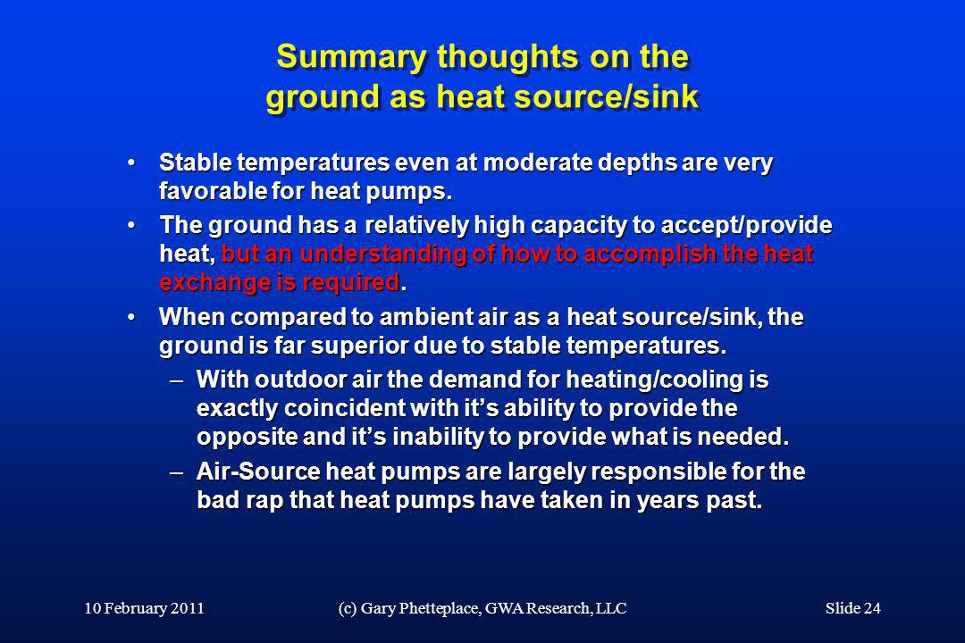 Summary thoughts on the ground as heat source/sink