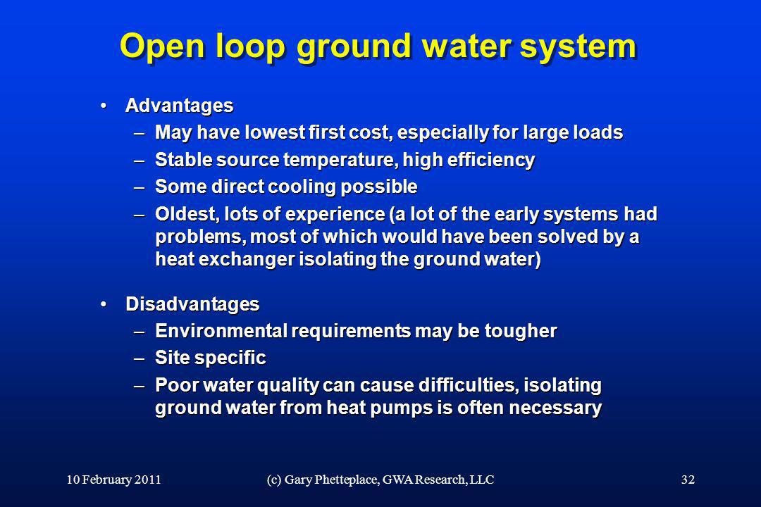 Open loop ground water system