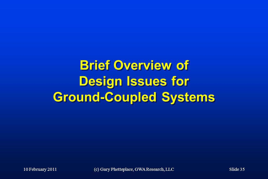 Brief Overview of Design Issues for Ground-Coupled Systems
