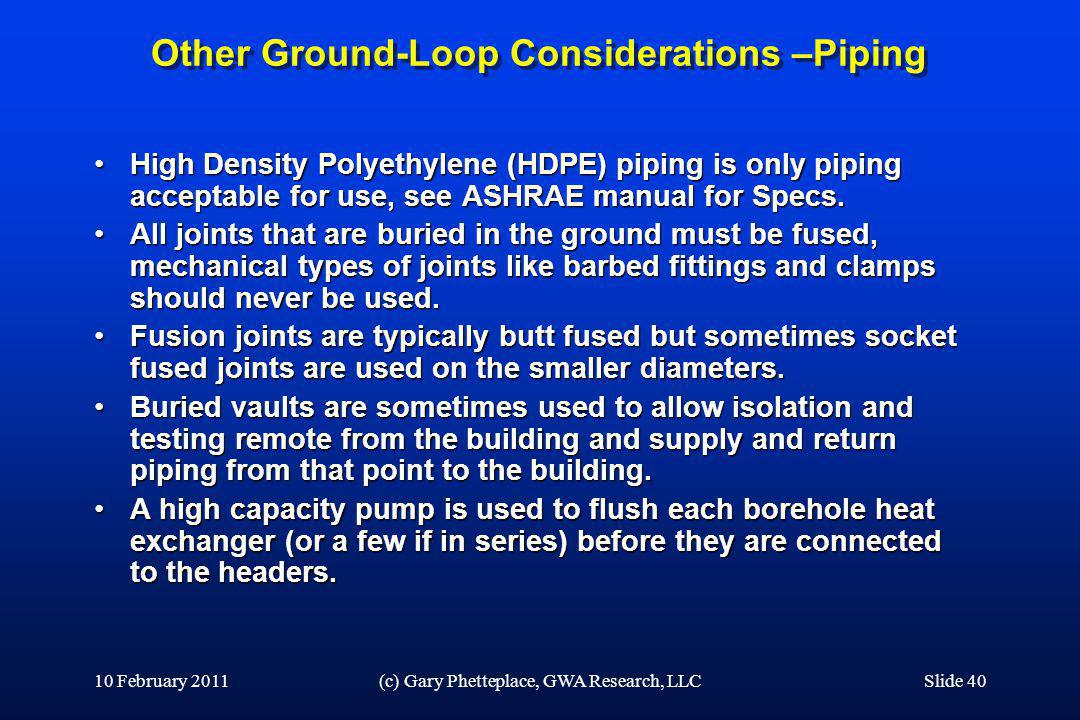 Other Ground-Loop Considerations –Piping