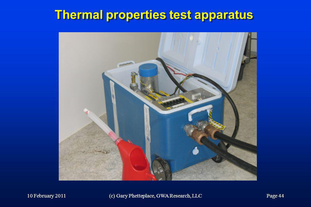 Thermal properties test apparatus