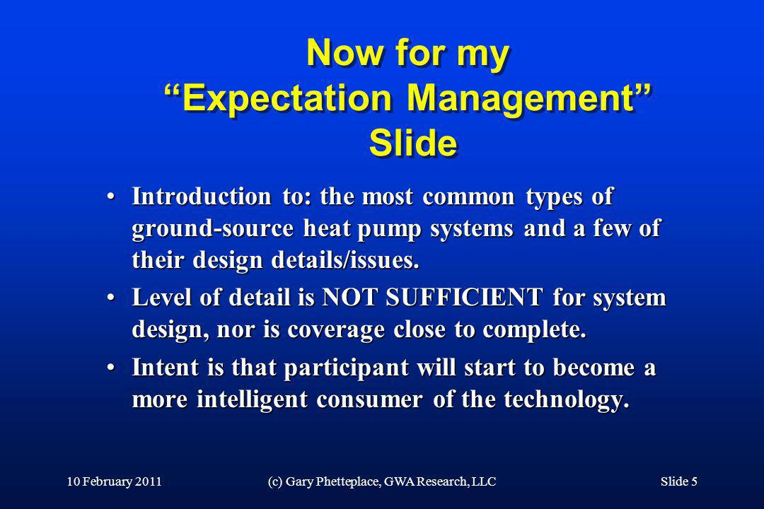 Now for my Expectation Management Slide