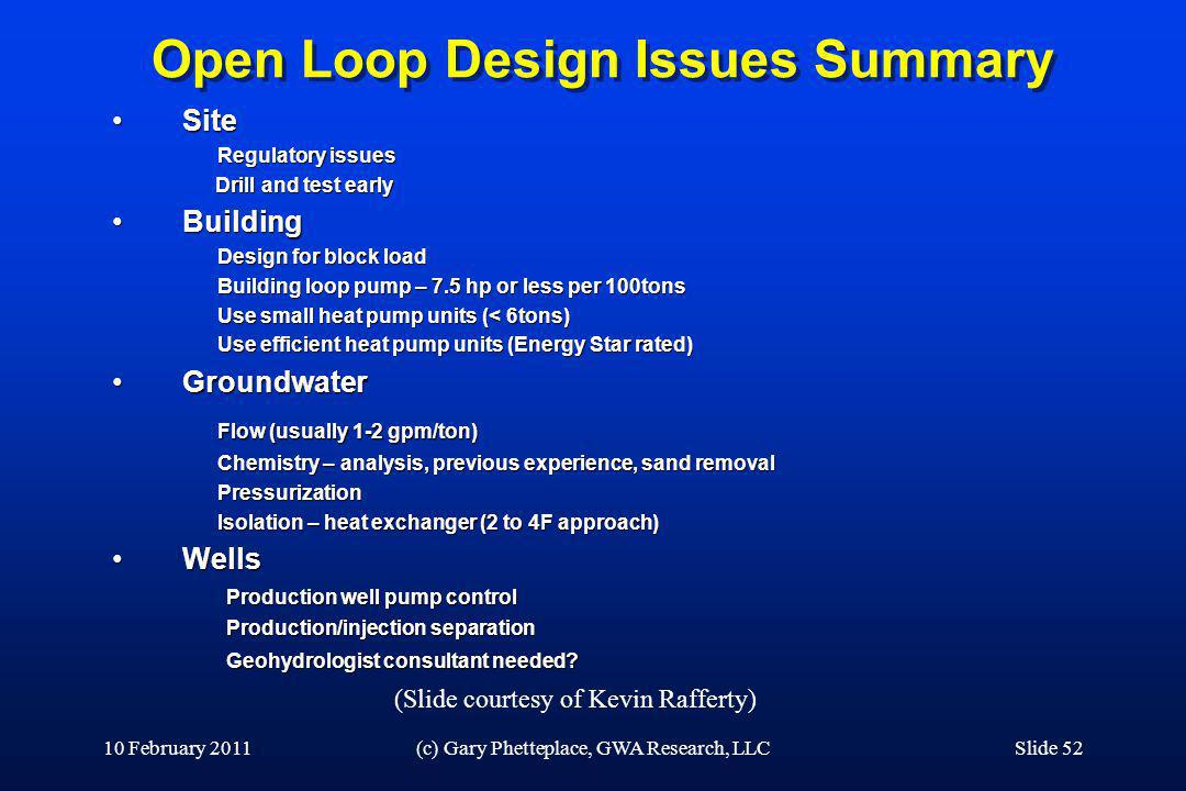 Open Loop Design Issues Summary