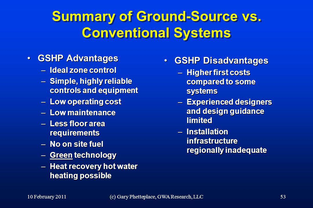 Summary of Ground-Source vs. Conventional Systems