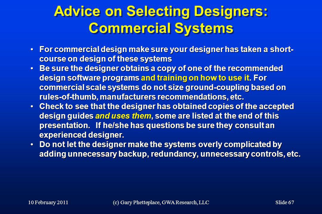 Advice on Selecting Designers: Commercial Systems