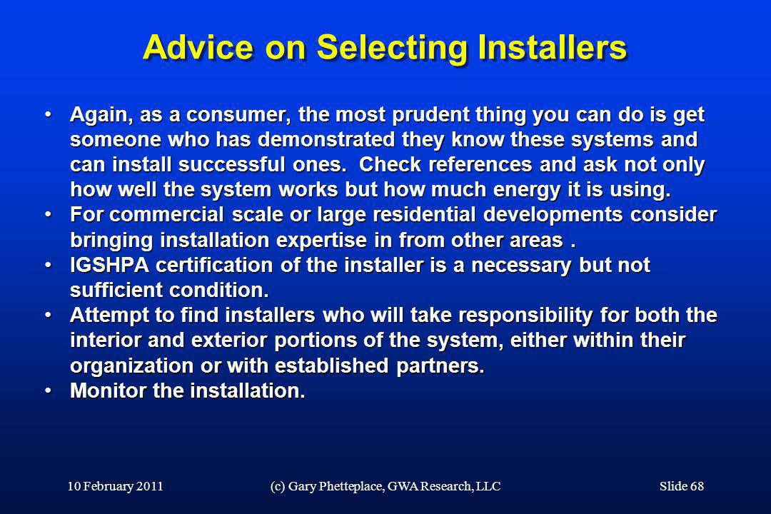 Advice on Selecting Installers