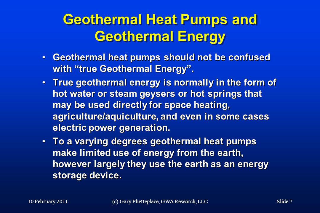 Geothermal Heat Pumps and Geothermal Energy