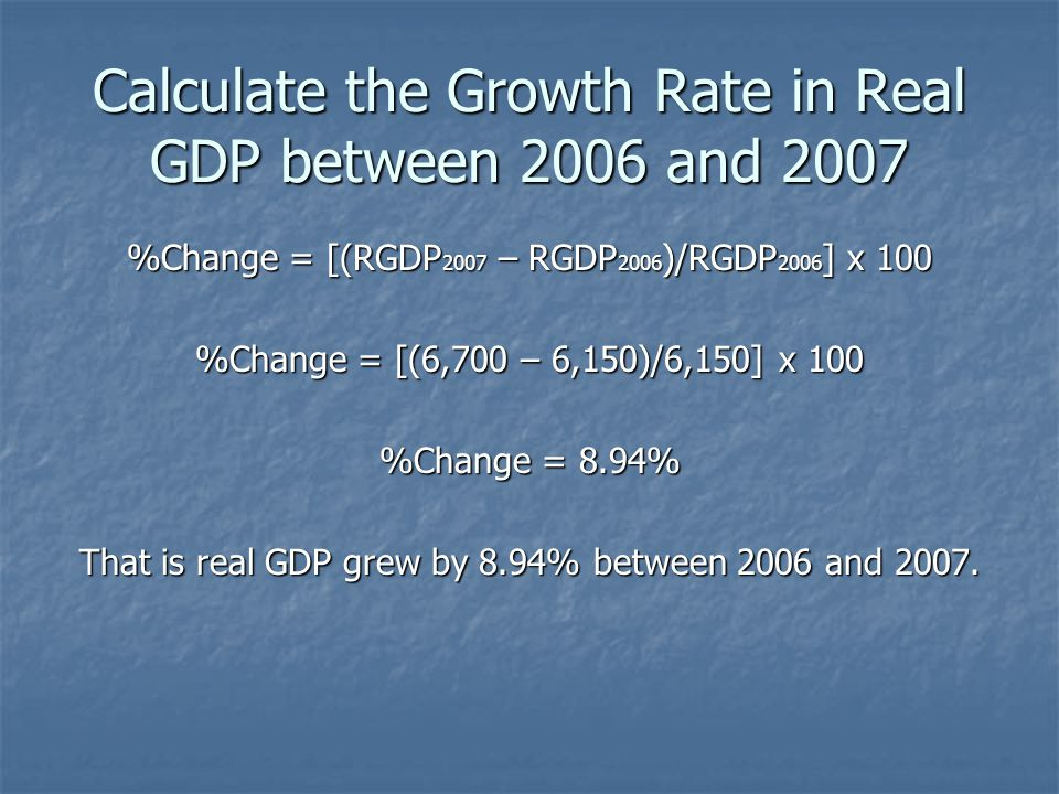 Calculate the Growth Rate in Real GDP between 2006 and 2007