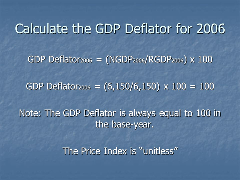 Calculate the GDP Deflator for 2006