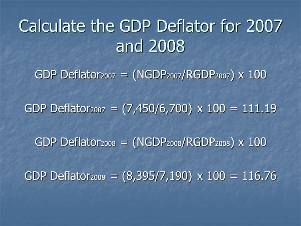 Calculate the GDP Deflator for 2007 and 2008