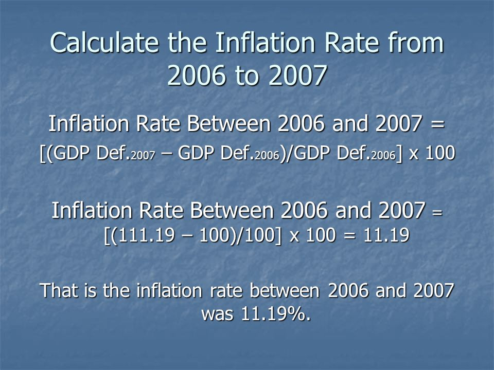 Calculate the Inflation Rate from 2006 to 2007