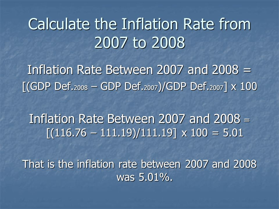Calculate the Inflation Rate from 2007 to 2008