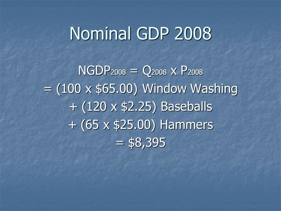 Nominal GDP 2008 NGDP2008 = Q2008 x P2008. = (100 x $65.00) Window Washing. + (120 x $2.25) Baseballs.