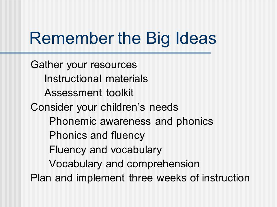 Remember the Big Ideas Gather your resources Instructional materials