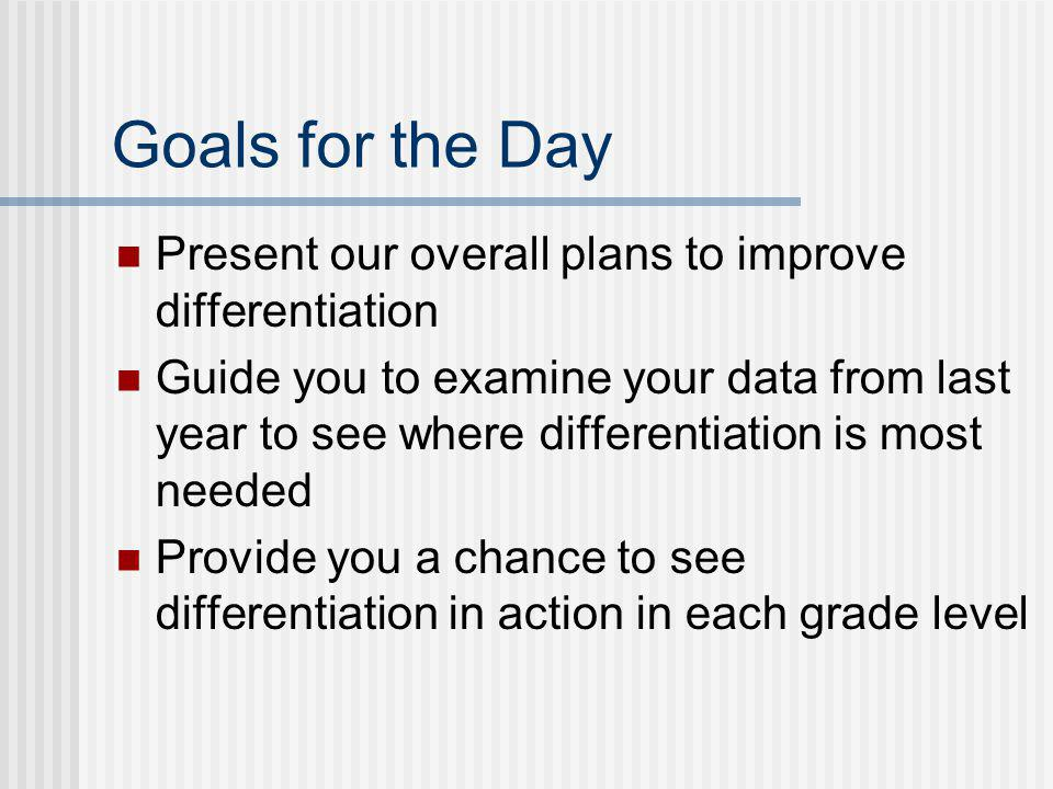 Goals for the Day Present our overall plans to improve differentiation