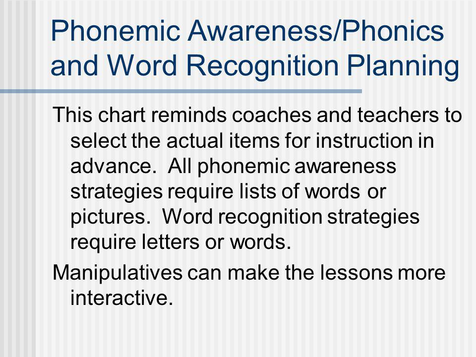 Phonemic Awareness/Phonics and Word Recognition Planning