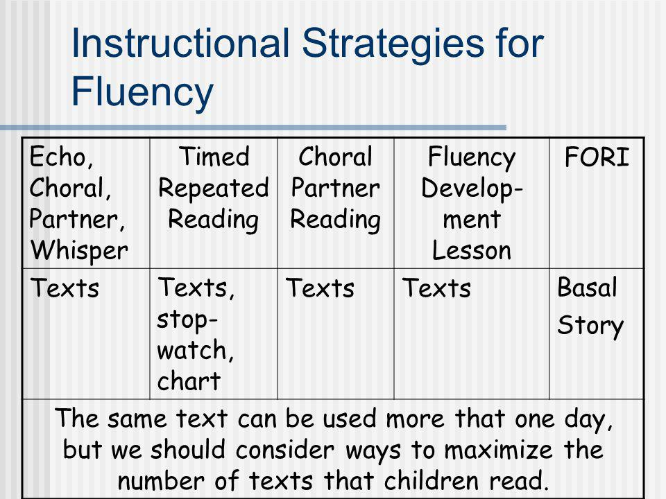 Instructional Strategies for Fluency