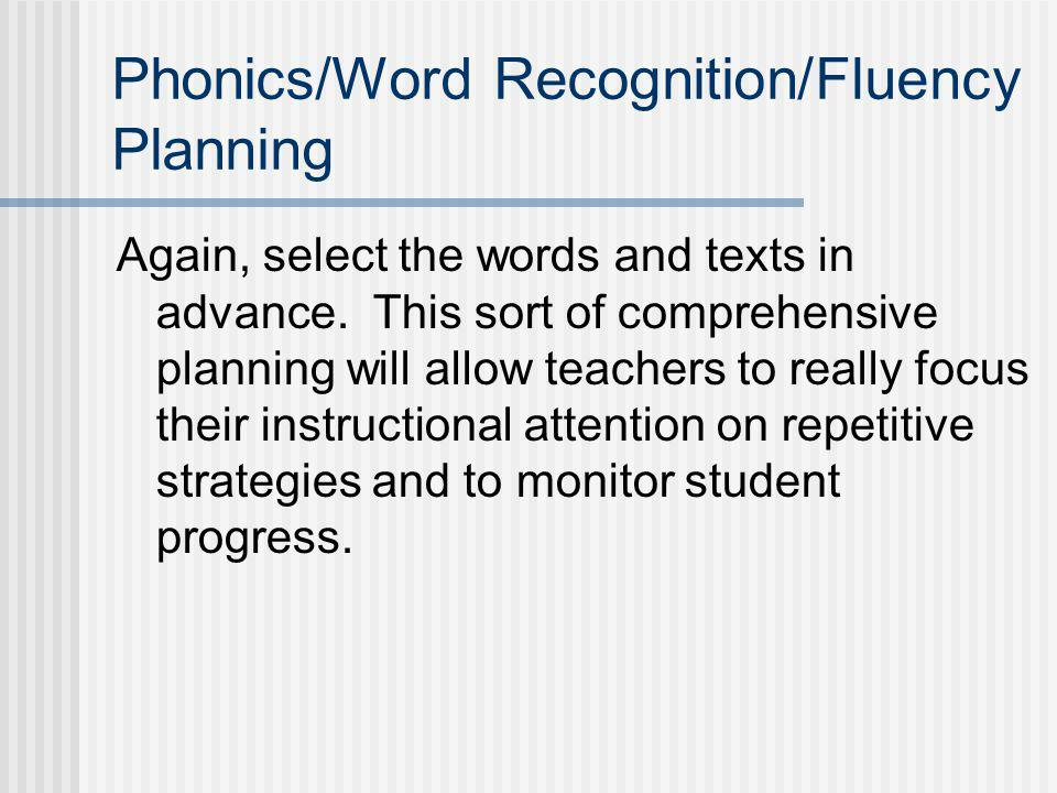 Phonics/Word Recognition/Fluency Planning