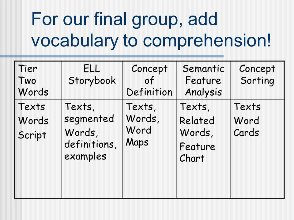 For our final group, add vocabulary to comprehension!