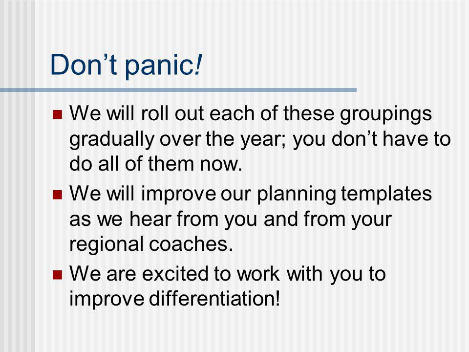Don't panic! We will roll out each of these groupings gradually over the year; you don't have to do all of them now.