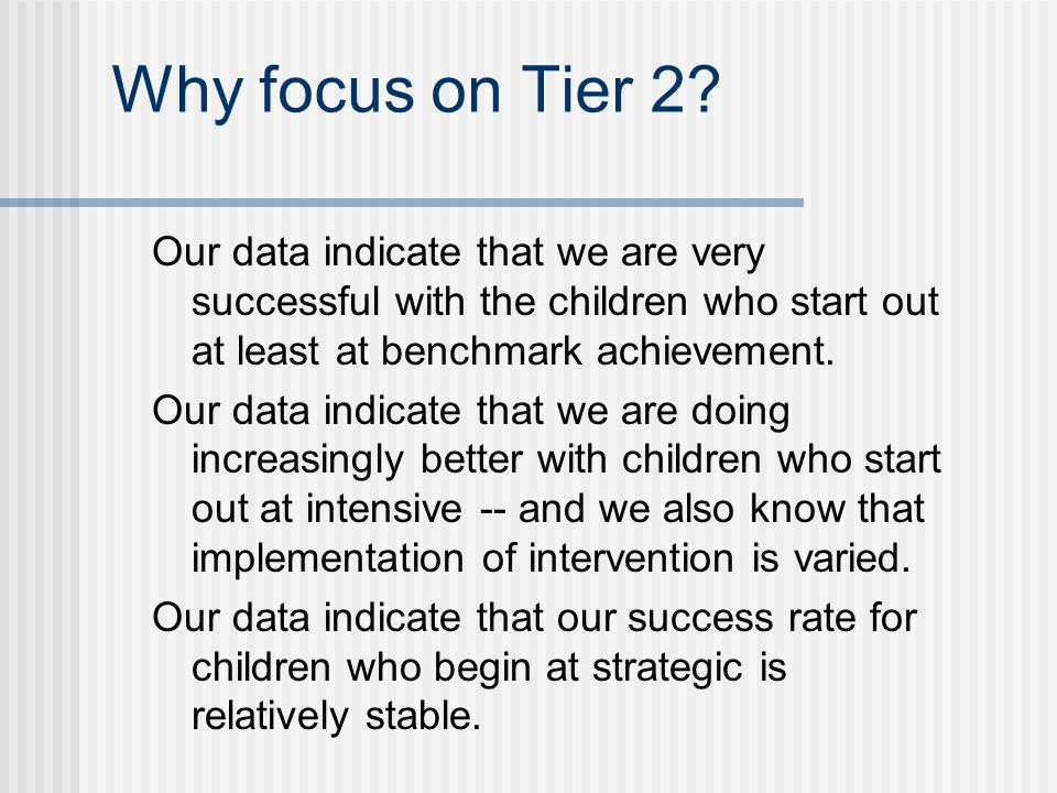 Why focus on Tier 2 Our data indicate that we are very successful with the children who start out at least at benchmark achievement.