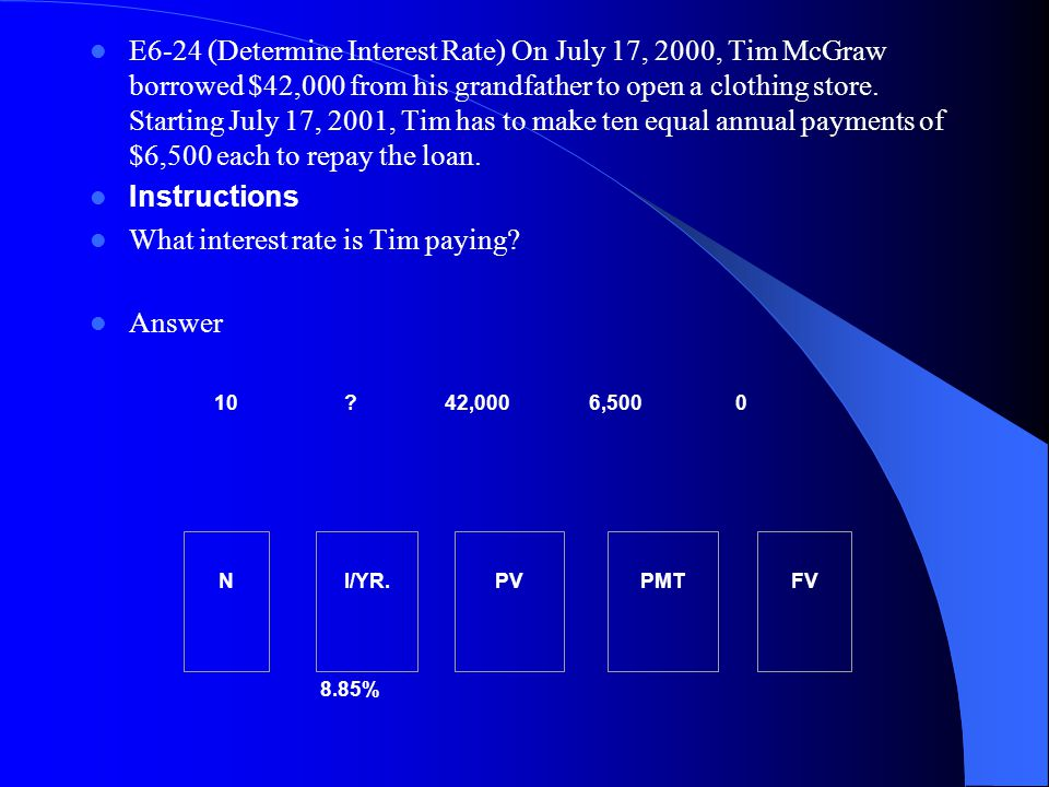 What interest rate is Tim paying Answer