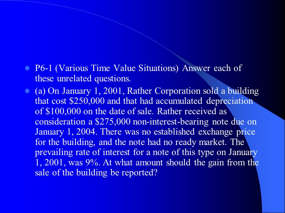 P6‑1 (Various Time Value Situations) Answer each of these unrelated questions.