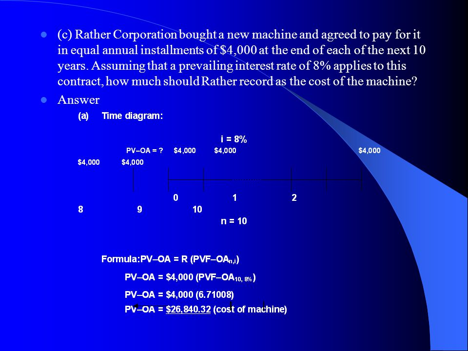 (c) Rather Corporation bought a new machine and agreed to pay for it in equal annual installments of $4,000 at the end of each of the next 10 years. Assuming that a prevailing interest rate of 8% applies to this contract, how much should Rather record as the cost of the machine