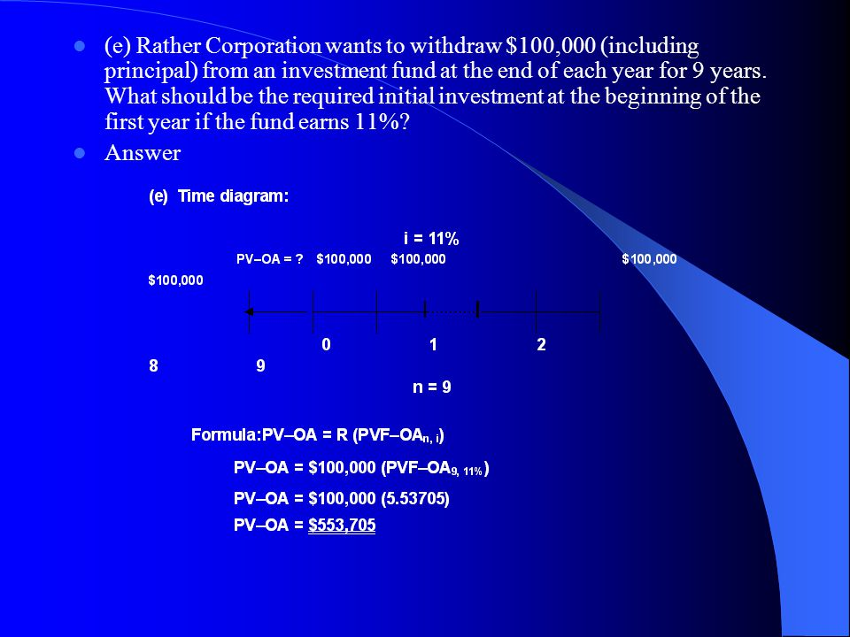 (e) Rather Corporation wants to withdraw $100,000 (including principal) from an investment fund at the end of each year for 9 years. What should be the required initial investment at the beginning of the first year if the fund earns 11%