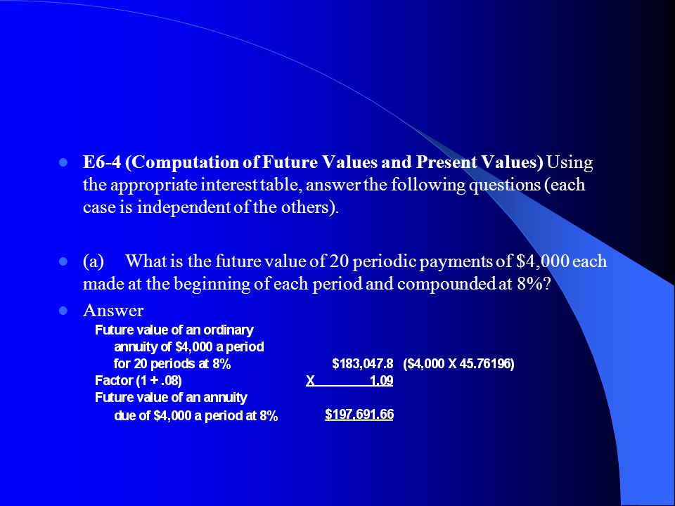 E6‑4 (Computation of Future Values and Present Values) Using the appropriate interest table, answer the following questions (each case is independent of the others).