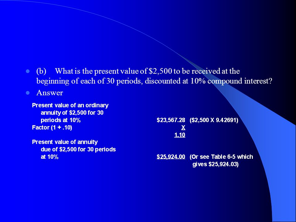 (b) What is the present value of $2,500 to be received at the beginning of each of 30 periods, discounted at 10% compound interest