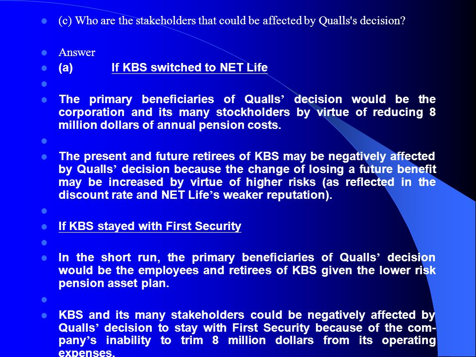 (c) Who are the stakeholders that could be affected by Qualls s decision