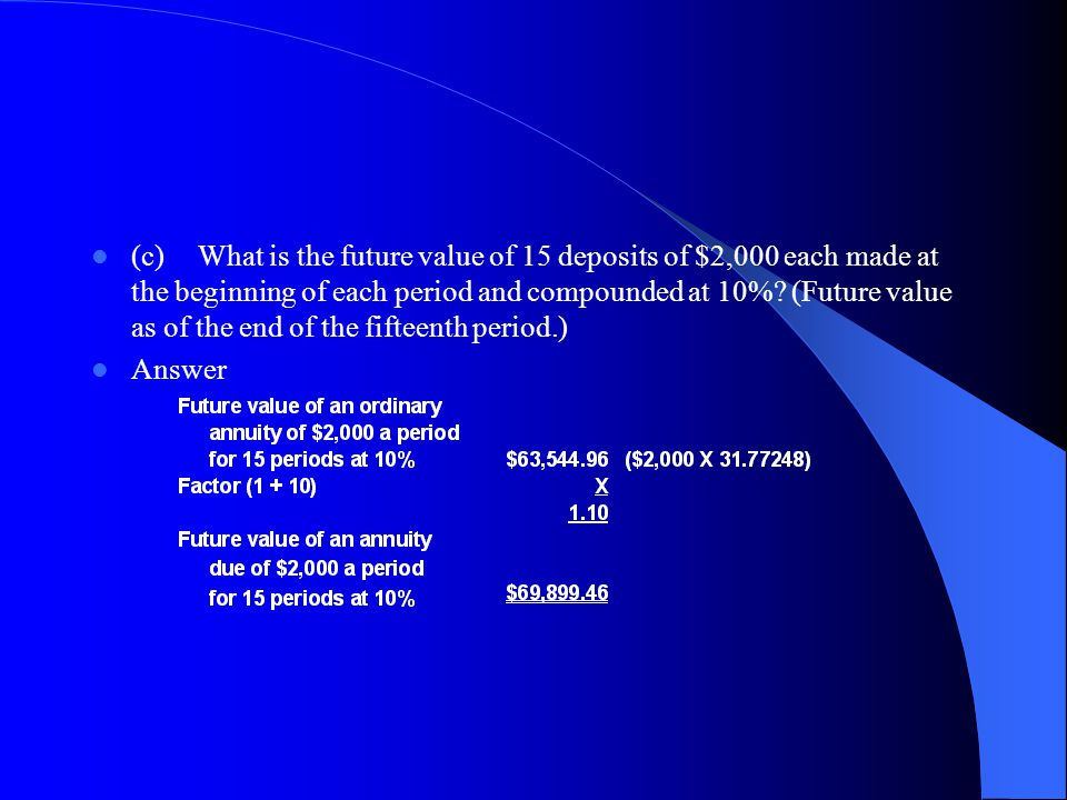(c) What is the future value of 15 deposits of $2,000 each made at the beginning of each period and compounded at 10% (Future value as of the end of the fifteenth period.)