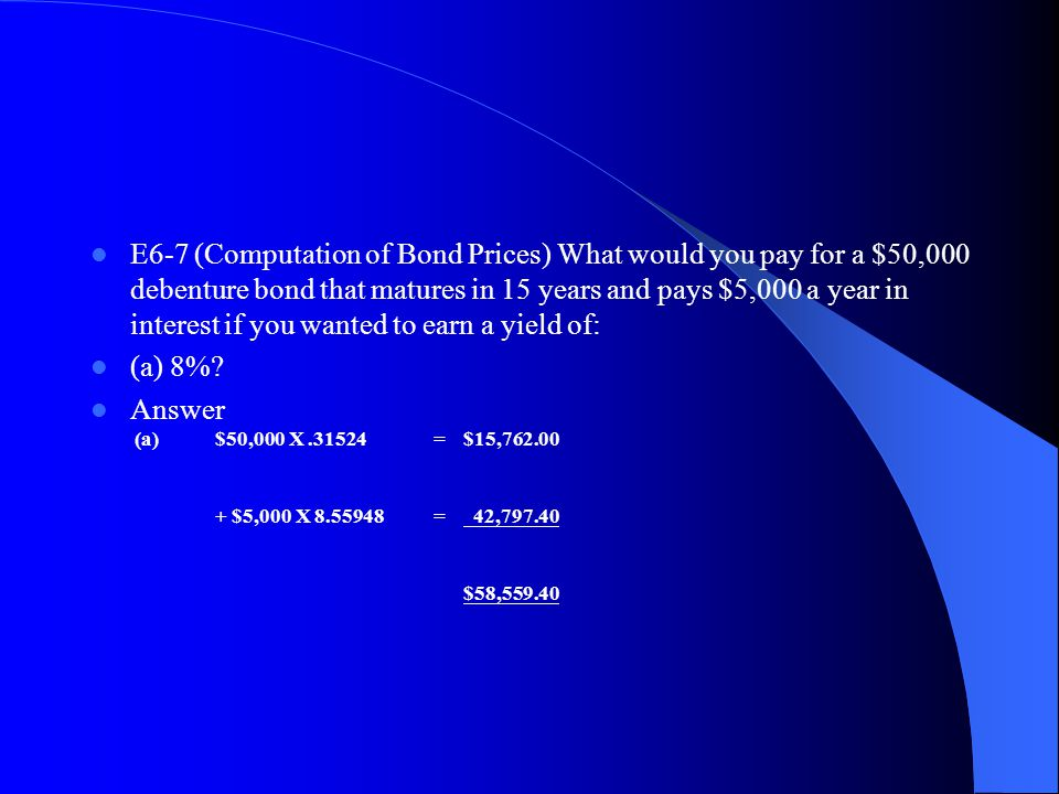 E6‑7 (Computation of Bond Prices) What would you pay for a $50,000 debenture bond that matures in 15 years and pays $5,000 a year in interest if you wanted to earn a yield of:
