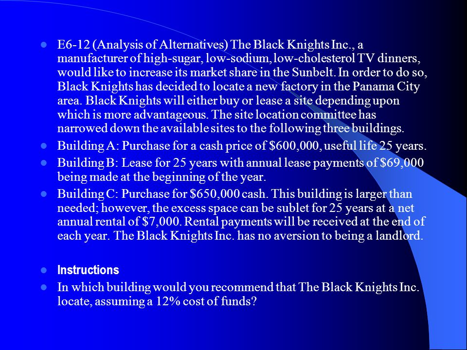 E6‑12 (Analysis of Alternatives) The Black Knights Inc