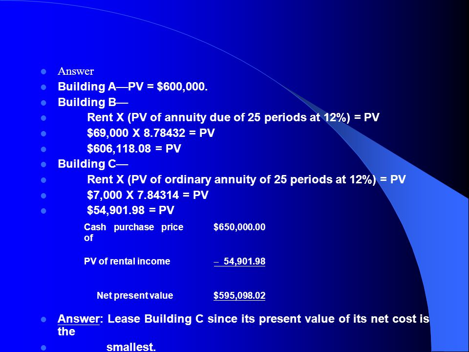 Rent X (PV of annuity due of 25 periods at 12%) = PV