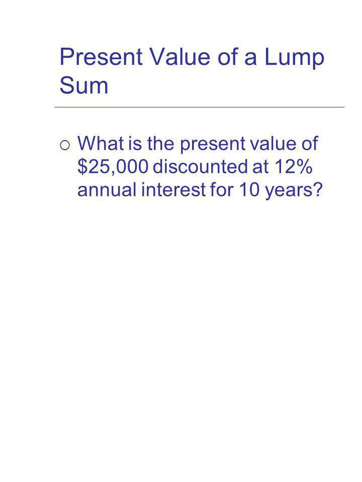 Present Value of a Lump Sum