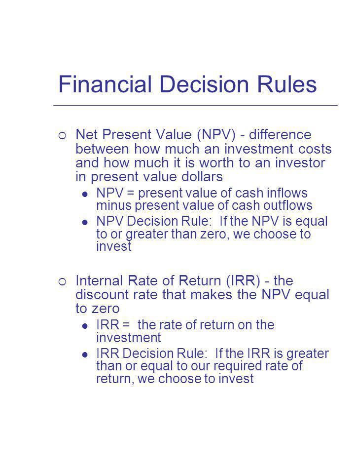 Financial Decision Rules
