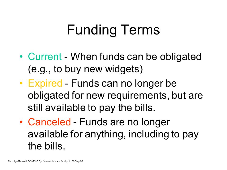 Funding Terms Current - When funds can be obligated (e.g., to buy new widgets)