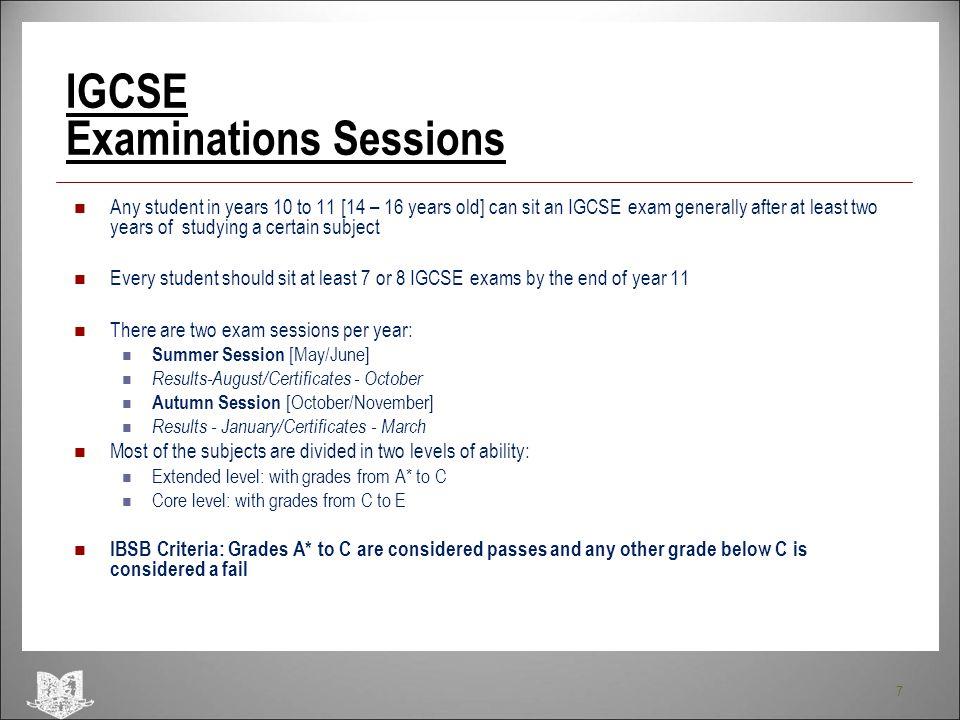 IGCSE Examinations Sessions
