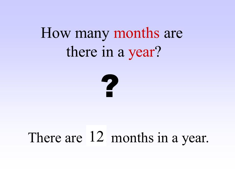 How many months are there in a year 12